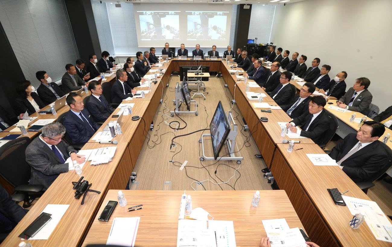 新型コロナウイルス対策連絡会議が行われた会場(代表撮影)