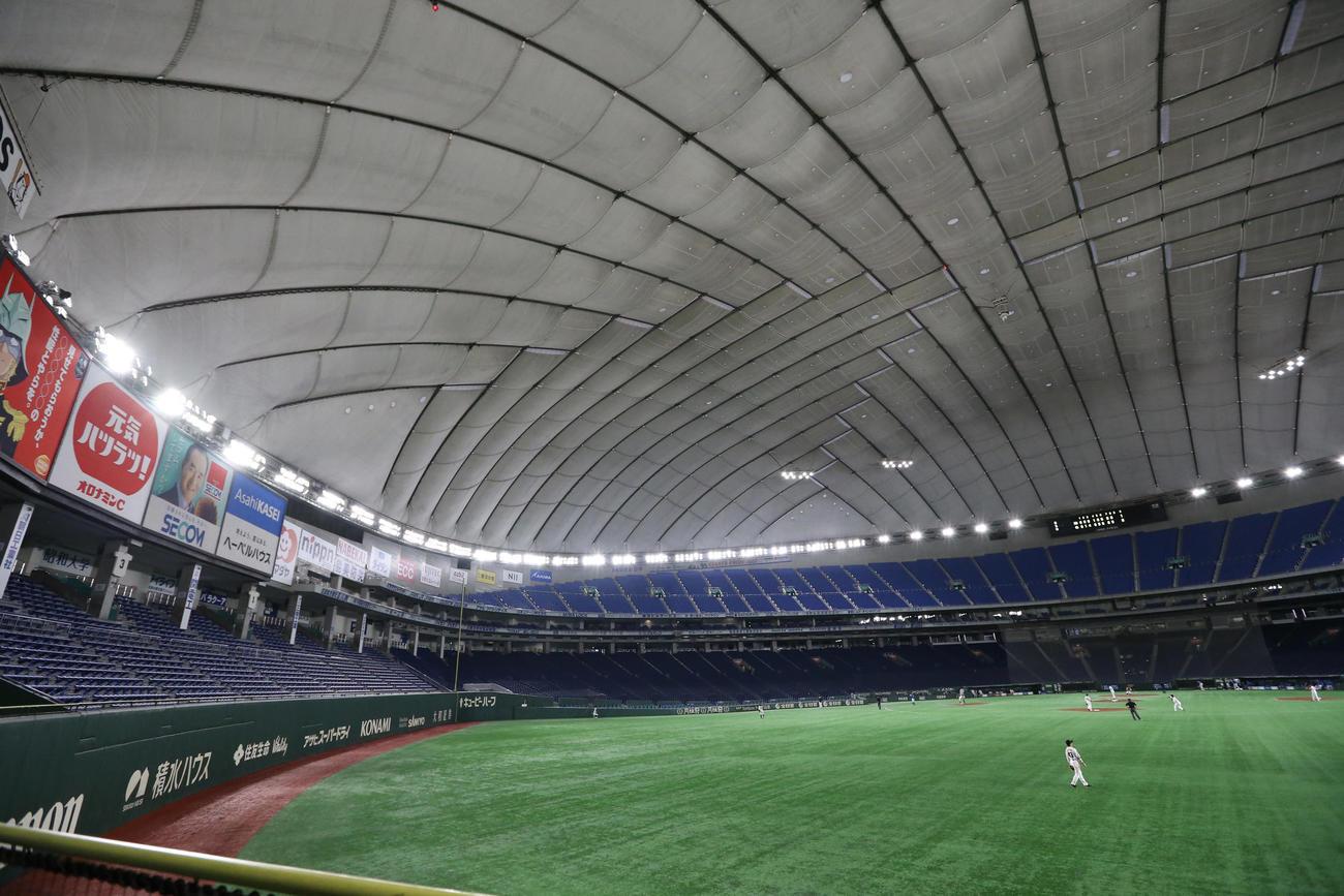 無観客の東京ドームで行われた練習試合の巨人-DeNA戦(撮影・狩俣裕三)
