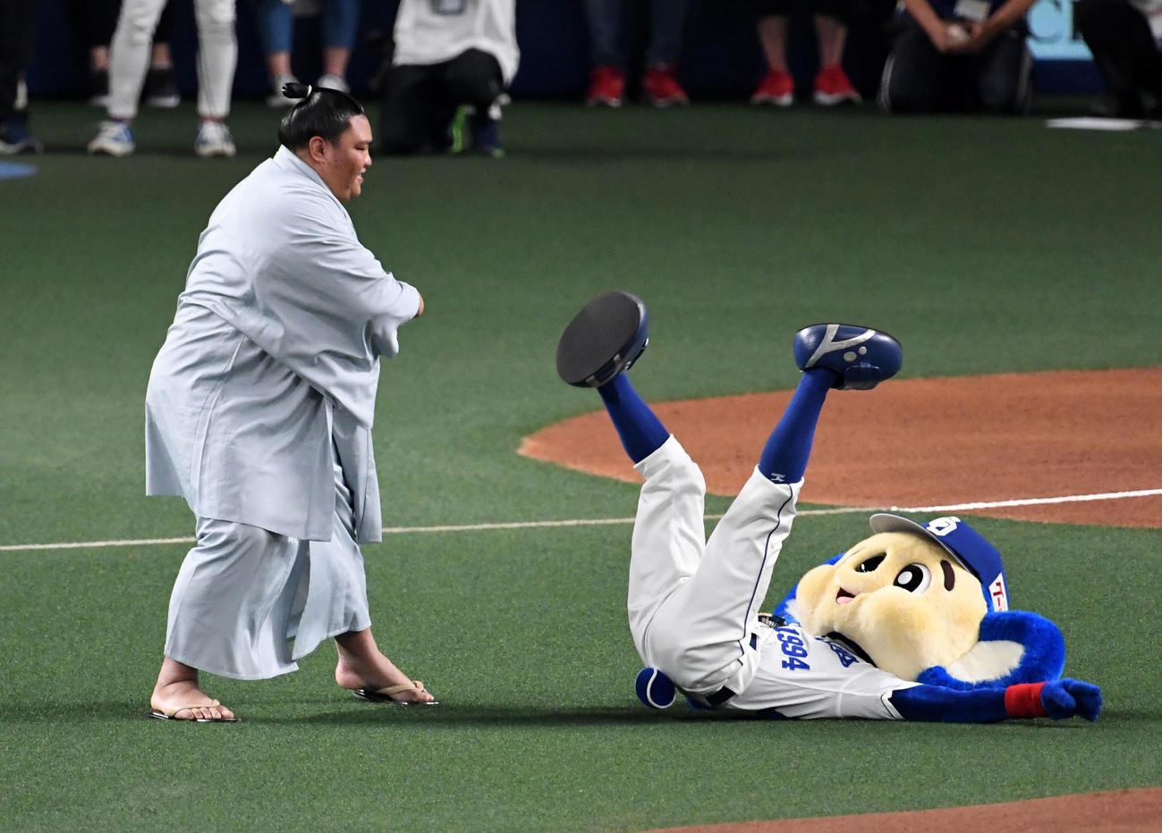 中日対日本ハム スピードボールコンテストに出場した御嶽海は、投球前にドアラと相撲を取り完勝(19年6月23日撮影)