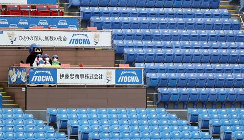 無観客試合となったオープン戦を見つめるつば九郎