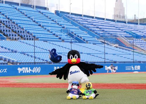ヤクルト対阪神 無人のスタンドを前にパフォーマンスするつば九郎(20年3月11日撮影)