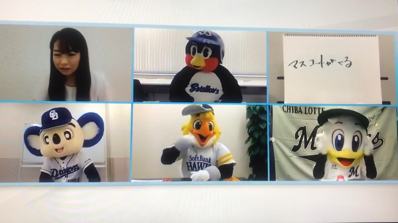 人気球団マスコットのヤクルトつば九郎(上段中央)、中日ドアラ(下段左)、ソフトバンク・ハリーホーク(下段中央)、ロッテ・マーくん(下段右)が集結した「マスコットがくる」の動画