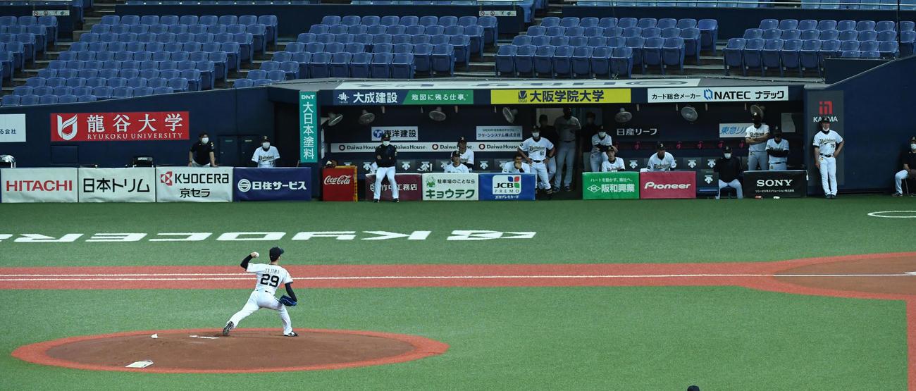オリックスの紅白戦。投手は白組先発の田嶋(撮影・前岡正明)