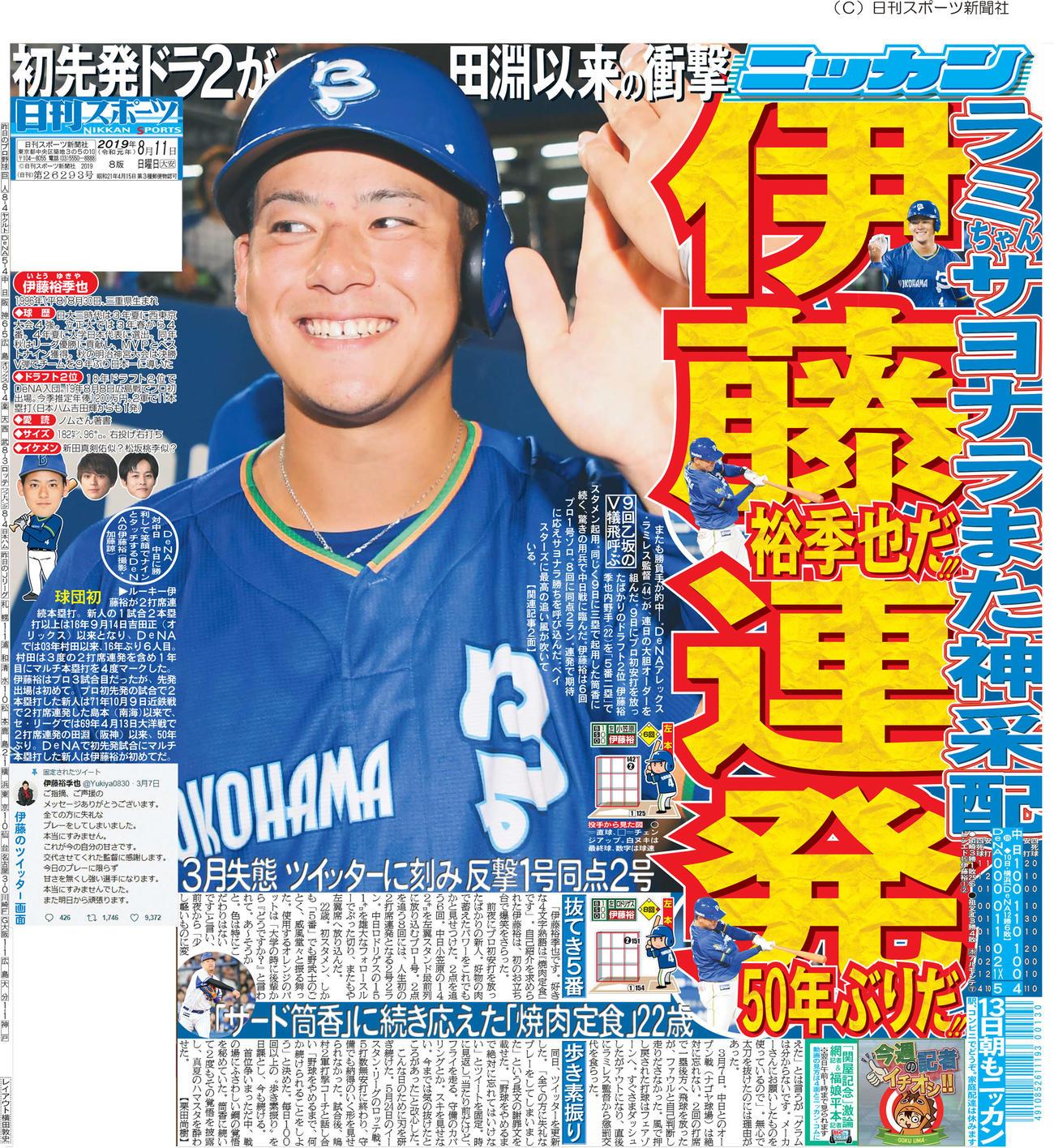 伊藤裕季也の快挙を伝えた2019年8月11日付日刊スポーツ