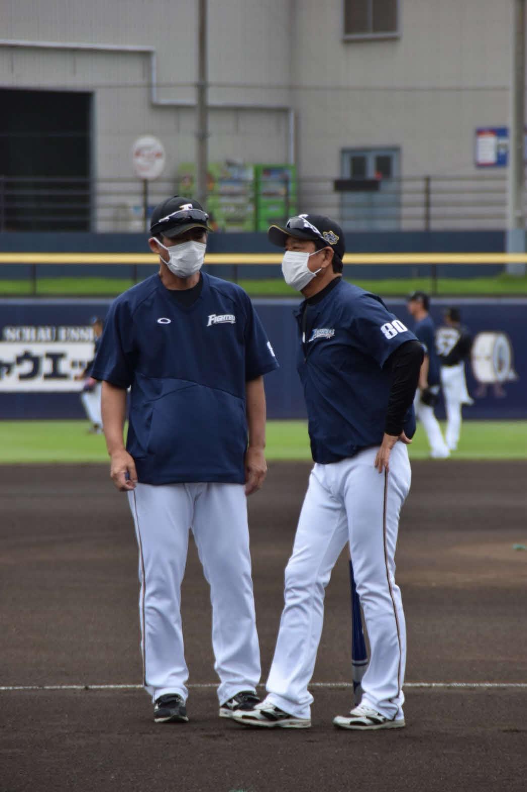 チーム練習を見守った日本ハム栗山監督(右)(球団提供)