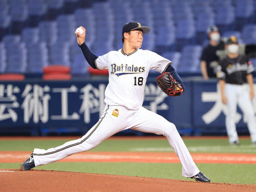 練習試合オリックス対ソフトバンク オリックス先発山本由伸(撮影・清水貴仁)