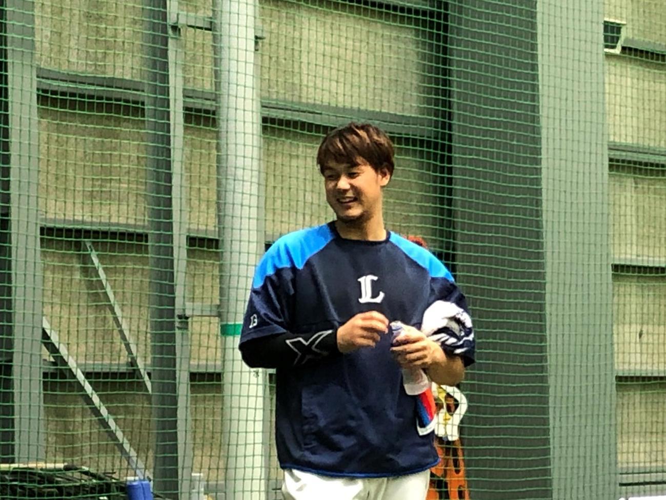 巨人との練習試合に向け、調整する西武高橋光成(球団提供)