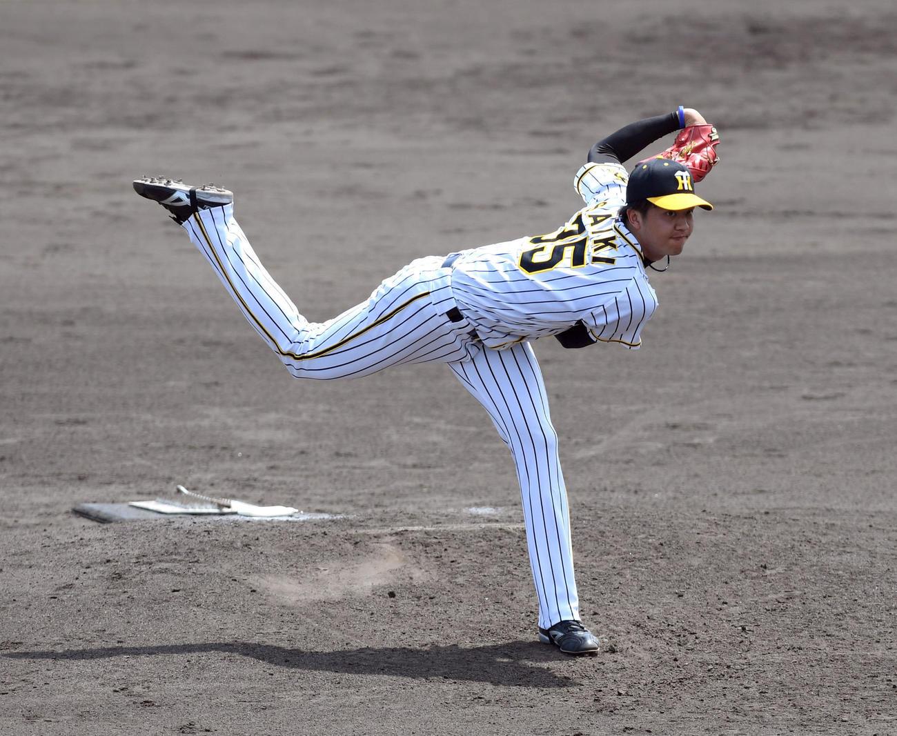 阪神対ソフトバンク 2番手で登板し力投する才木(代表撮影)