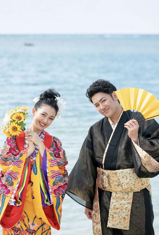 新婚生活を送るオリックス大城と妻早紀さん(本人提供)