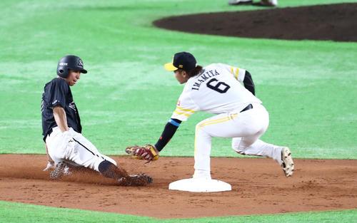 ソフトバンク対ロッテ 3回表ロッテ2死一、三塁、打者・角中のとき一塁走者の福田が二盗を試みるが甲斐が送球し阻止(撮影・梅根麻紀)