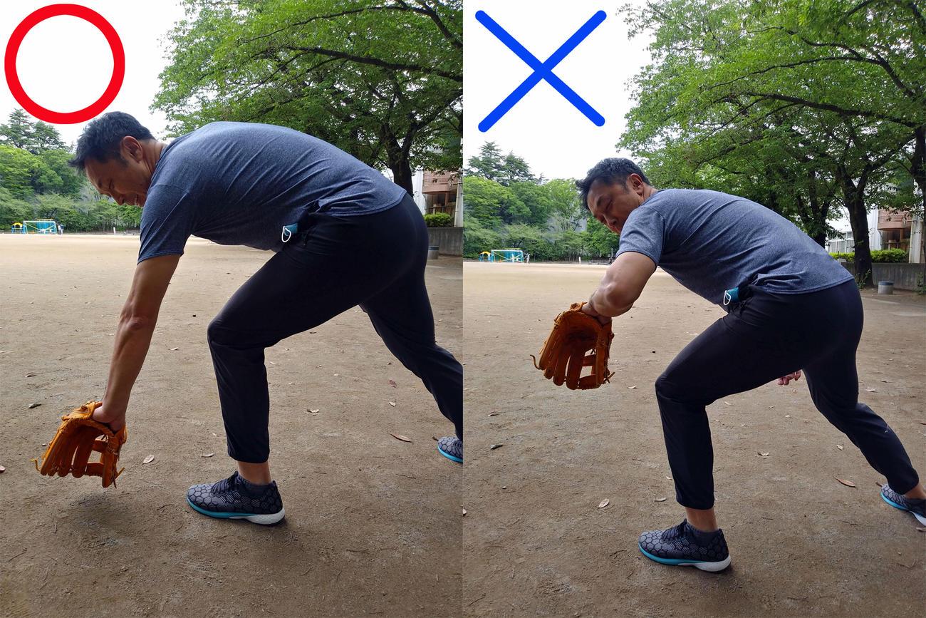逆シングルの捕球体勢の手本を示す宮本氏