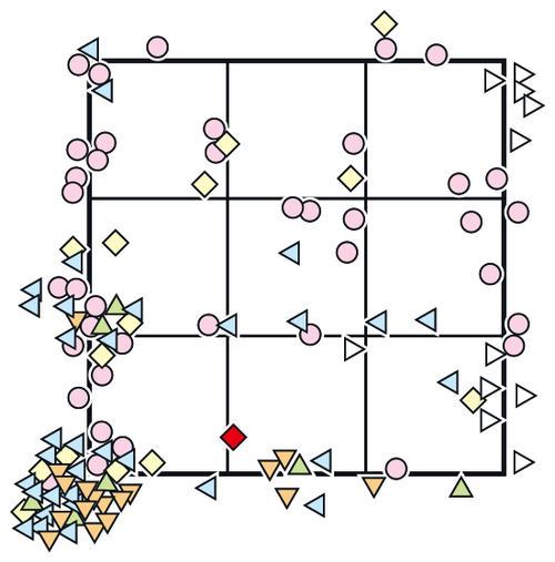 3日中日戦での巨人菅野の全球配球図 ○=直球、△=カーブ、◁=スライダー、▷=シュート、▽=フォーク、◇=カットボール。赤の◇はビシエドに許した初被安打