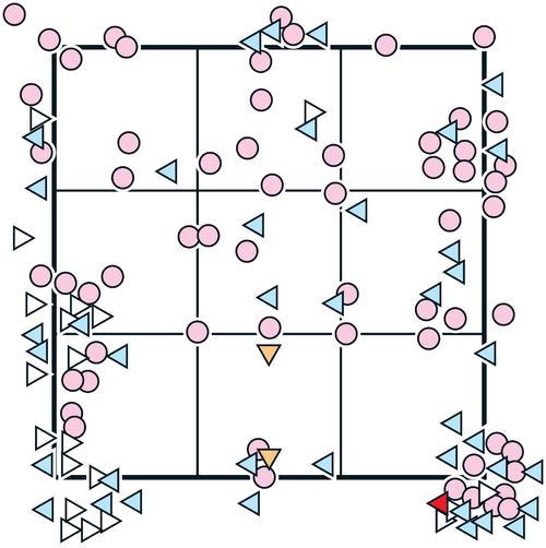 大野雄の配球 ※投手から見た図  ○=ストレート、▷=ツーシーム、◁=スライダー、▽=フォークボール、赤い◁=6回92球目坂本に被弾