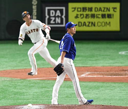 巨人対中日 6回裏巨人1死、大野雄は坂本に左越えソロ本塁打を許す(撮影・山崎安昭)
