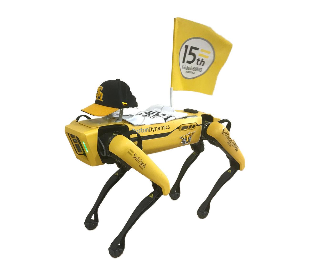 レフトスタンドに設置された四足歩行型ロボット「Spot」(スポット)」(撮影・梅根麻紀)