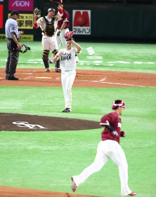 2回表楽天1死一、二塁、浅村栄斗に右越え3点本塁打を浴びた笠谷(撮影・梅根麻紀)