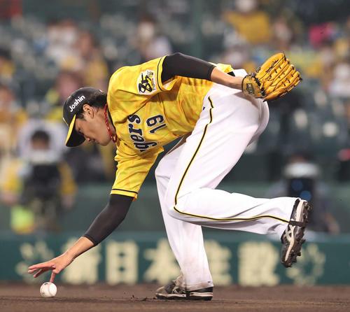 阪神対巨人 6回表巨人無死、戸郷の打球を捕球しそこね、出塁を許す藤浪(撮影・河野匠)