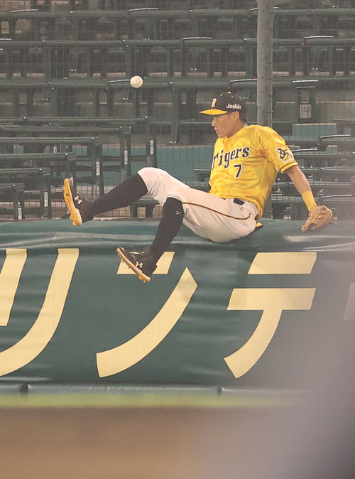 阪神対巨人 6回表巨人2死一、三塁、岡本の打球に飛びつくも捕球できず右越え2点適時二塁打を許す右翼手の糸井(撮影・河野匠)