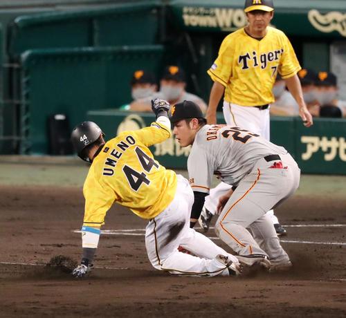 阪神対巨人 4回裏阪神1死一、二塁、打者植田のとき二走梅野は三塁盗塁を決める、野手は岡本(撮影・加藤哉)