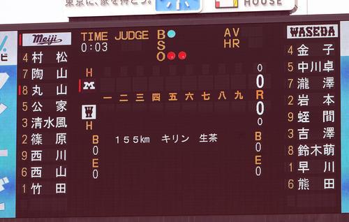 明大対早大 早大先発の早川の球速155キロを表示する電光掲示板(撮影・垰建太)