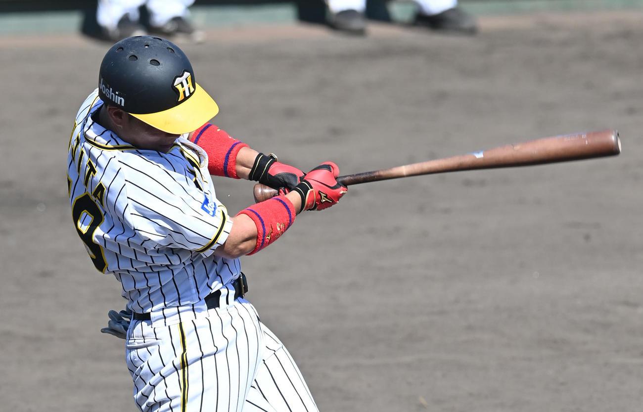 阪神2軍対天理大 8回、二塁打を放つ阪神藤田(代表撮影)