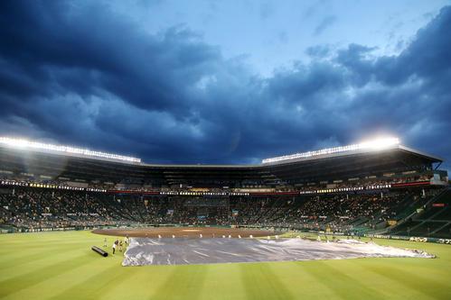 阪神大巨人豪雨も上がってグランドシートを除去せず阪神園芸スタッフ(撮影・加藤初)