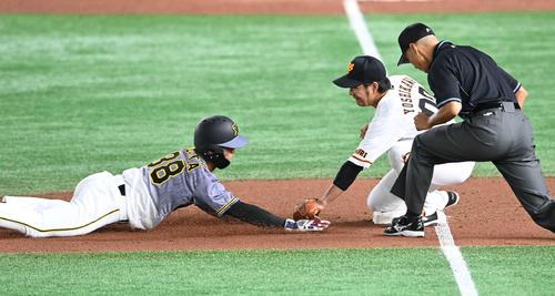 巨人対阪神 7回表阪神無死一、二塁、重盗で三塁を狙った小幡(左)は憤死。三塁手吉川大(撮影・山崎安昭)