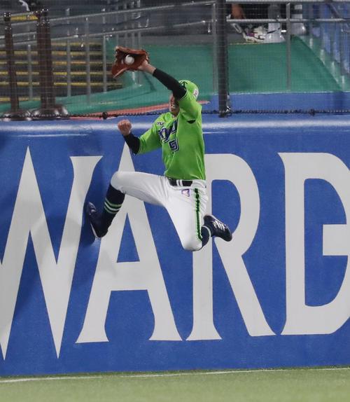 ヤクルト対DeNA 9回表DeNA2死、山下の打球をフェンスに激突しながら好捕する上田(撮影・垰建太)