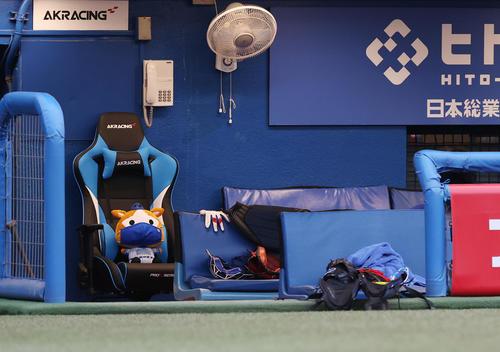 ヤクルト対DeNA 試合前、DeNAベンチの監督席にマスクを着けたDB.スターマンのぬいぐるみが鎮座する(撮影・垰建太)