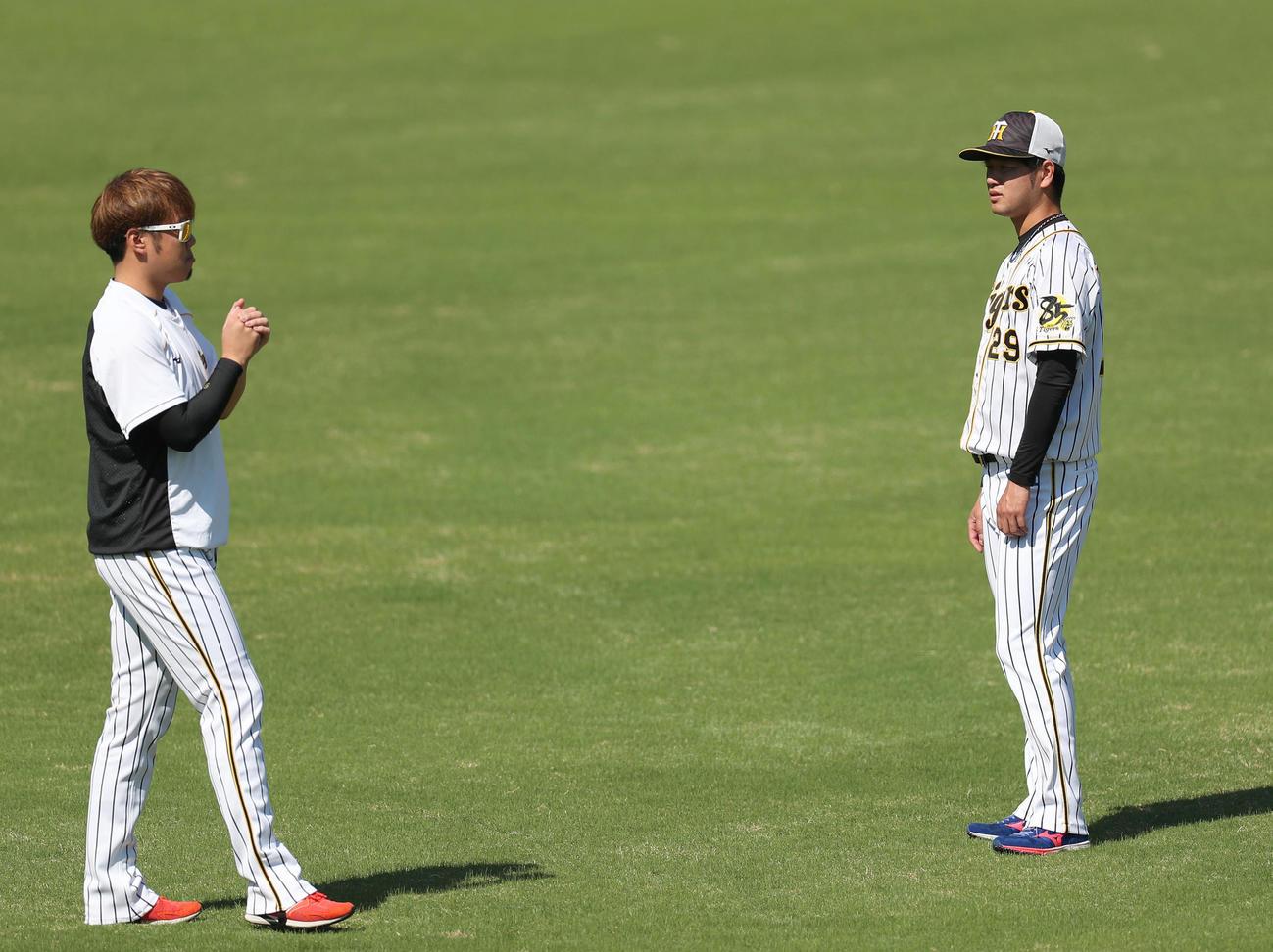 阪神対DeNA 試合前練習で阪神西勇(左)からアドバイスを受ける高橋(撮影・前田充)