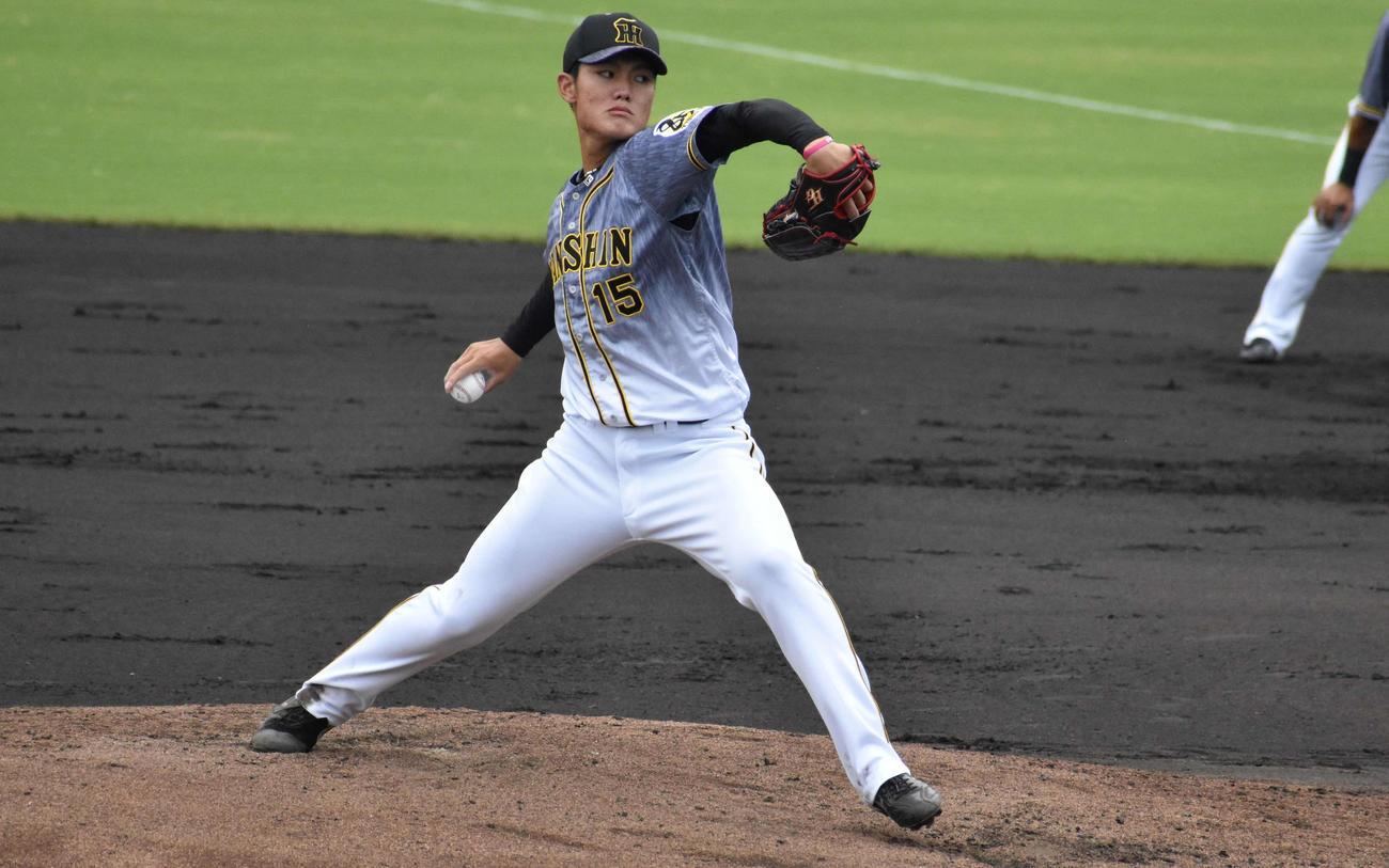 ウエスタンリーグ広島戦に先発する阪神ドラフト1位の西純矢投手(撮影・只松憲)