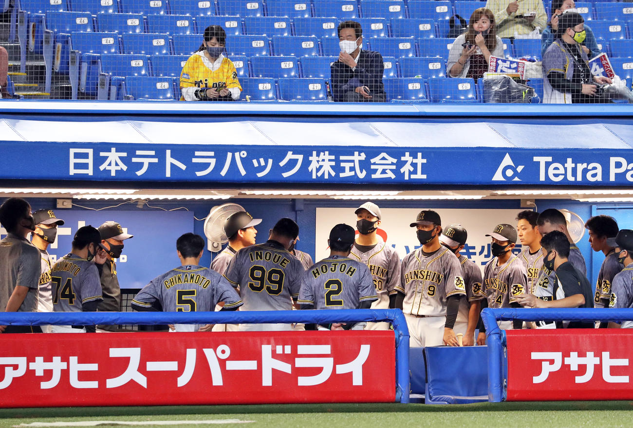 試合前、ベンチ内で話し合う阪神の選手たち。左から2人目は矢野監督(撮影・狩俣裕三)