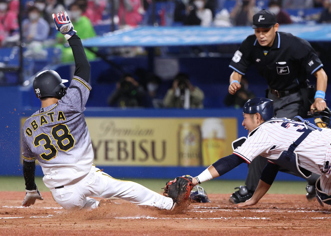 ヤクルト対阪神 7回表阪神2死一塁、高山の飛球を遊撃西浦が落球、一塁から本塁を狙った小幡はアウトとなる、捕手西田(撮影・清水貴仁)