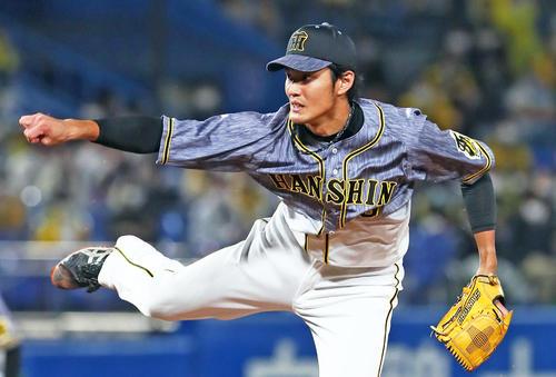 ヤクルト阪神タイガース8回で3番目に登板阪神フジナミ(撮影・足立マーサ)