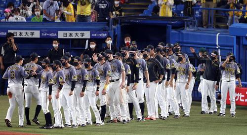 ヤクルトの阪神試合後の喜びを分かち合う阪神選手(撮影・カリマタ裕三)