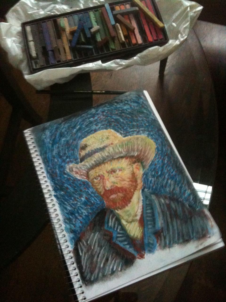 ゴッホの自画像をまねた五十嵐の絵