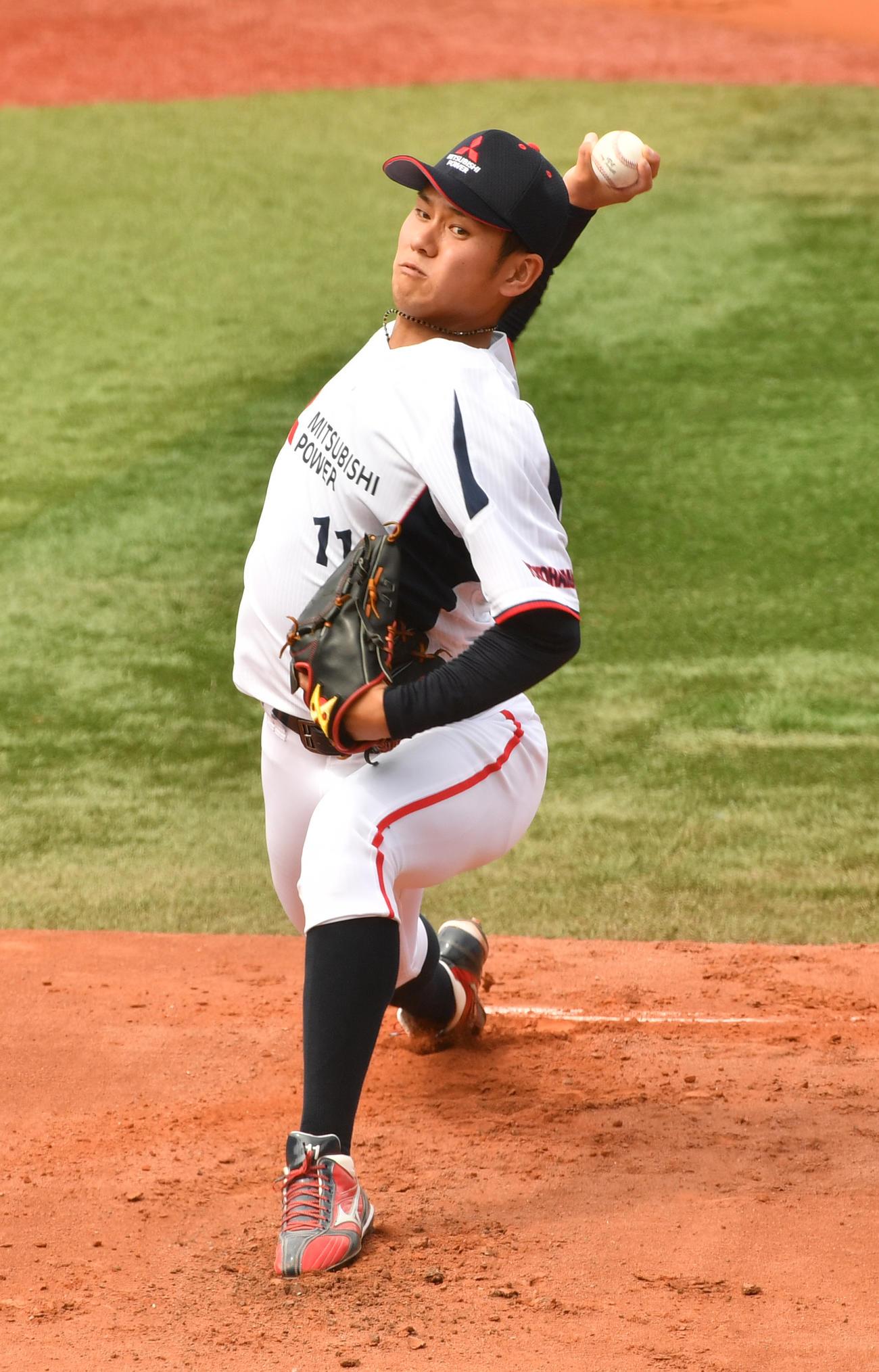 都市対抗代表決定リーグ ENEOS戦に先発した三菱パワー・伊藤(20年9月16日撮影)