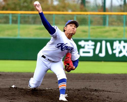 苫小牧駒大伊藤海(2020年10月12日撮影)