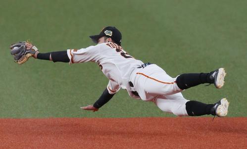 巨人対ソフトバンク 1回表ソフトバンク1死二塁、グラシアルの打球に飛びつく二塁手吉川尚(撮影・前田充)