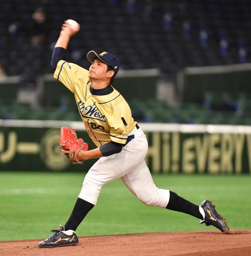 東芝対NTT西日本 先発したNTT西日本・浜崎(撮影・柴田隆二)