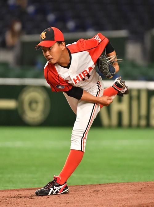 東芝対NTT西日本 先発した東芝・岡本(撮影・柴田隆二)