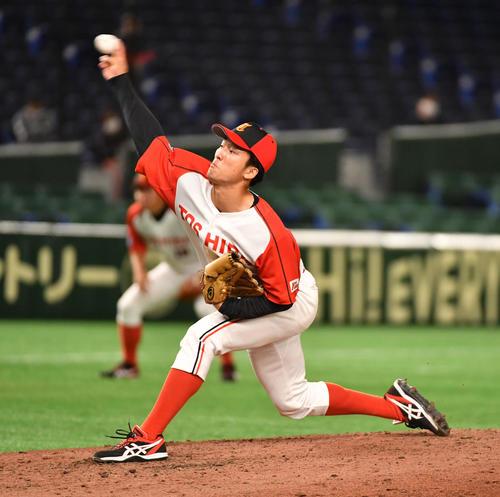 東芝対NTT西日本 6回から登板した東芝・吉村(撮影・柴田隆二)