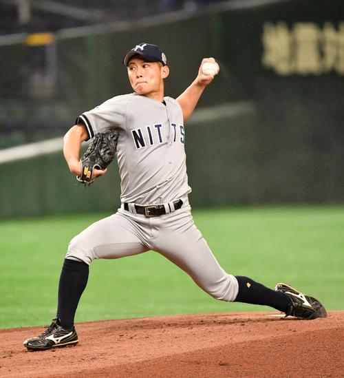 日本通運対ホンダ熊本 先発した日本通運・相馬(撮影・柴田隆二)