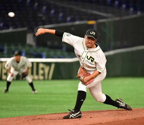JR北海道クラブ対NTT東日本 先発したJR北海道クラブ・伊藤(撮影・柴田隆二)
