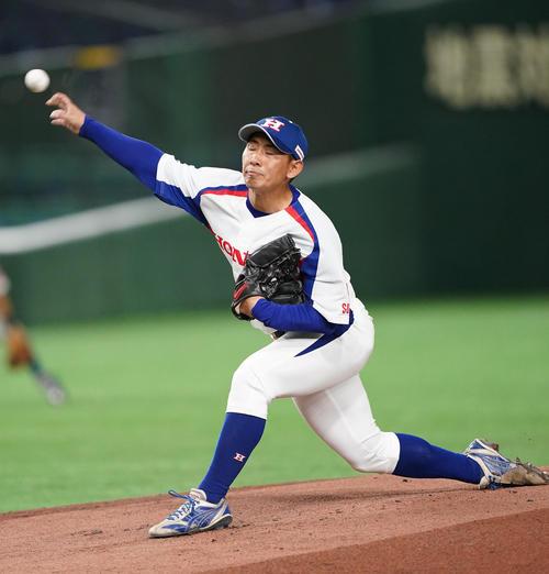 NTT西日本対ホンダ鈴鹿 先発し、力投するホンダ鈴鹿・井村(撮影・菅敏)