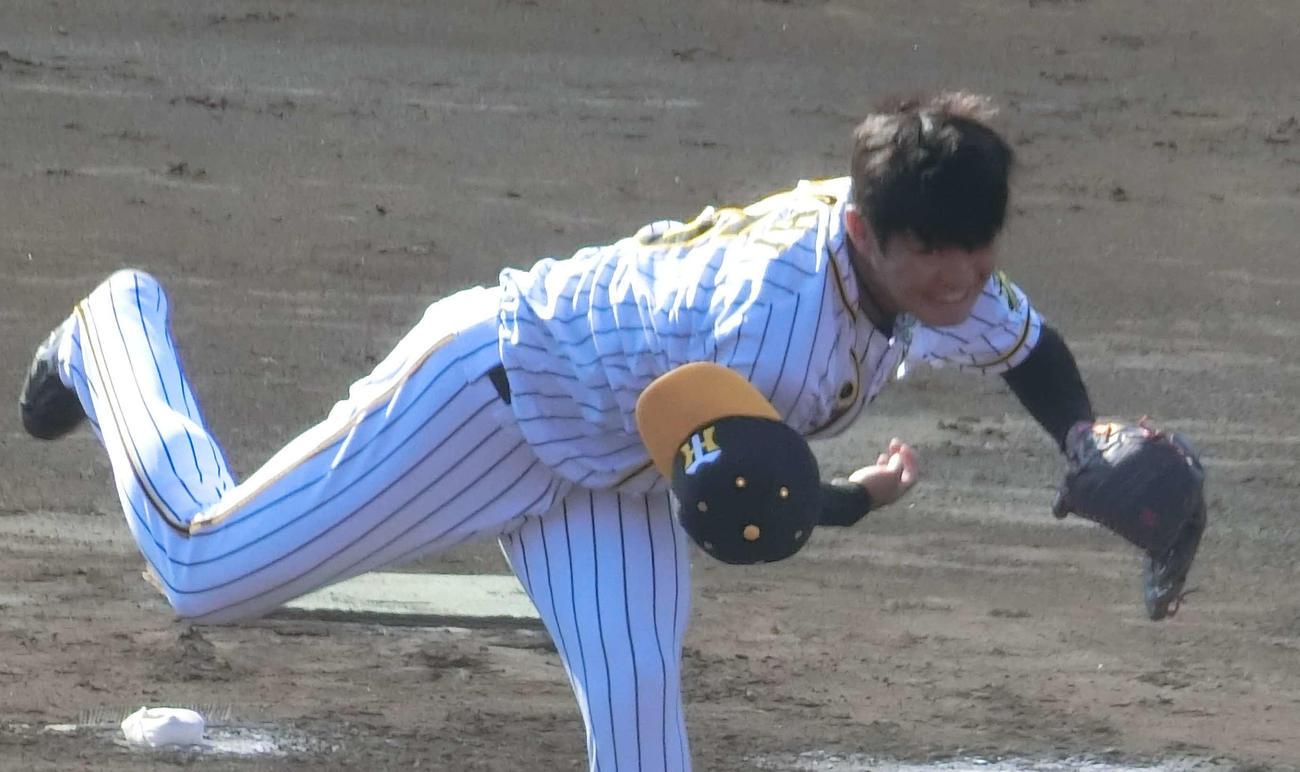 フェニックスリーグの楽天戦に先発した阪神西純(撮影・奥田隼人)