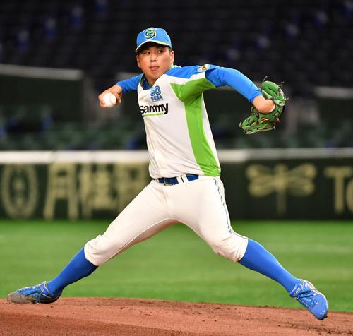 準々決勝セガサミー対NTT西日本 先発したセガサミー・森井(撮影・柴田隆二)