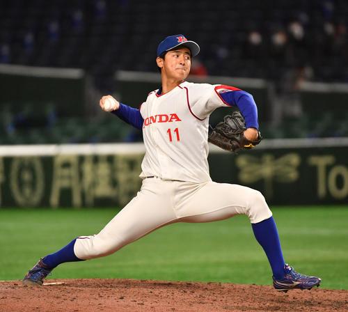 準々決勝ホンダ対西部ガス 8回から登板したホンダ・米倉(撮影・柴田隆二)