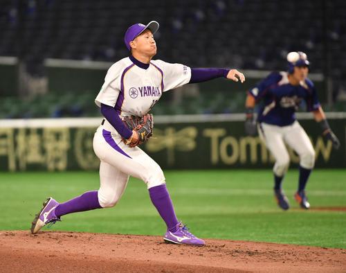 ヤマハ対NTT東日本 2回途中から登板したヤマハ・九谷(撮影・柴田隆二)