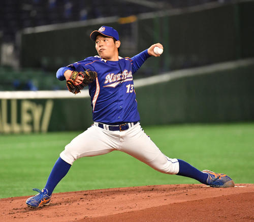 決勝NTT東日本対ホンダ 先発したNTT東日本・沼田(撮影・柴田隆二)